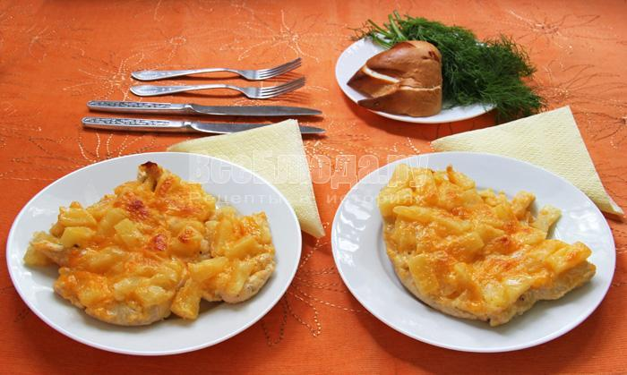 рецепт куриного филе с ананасами