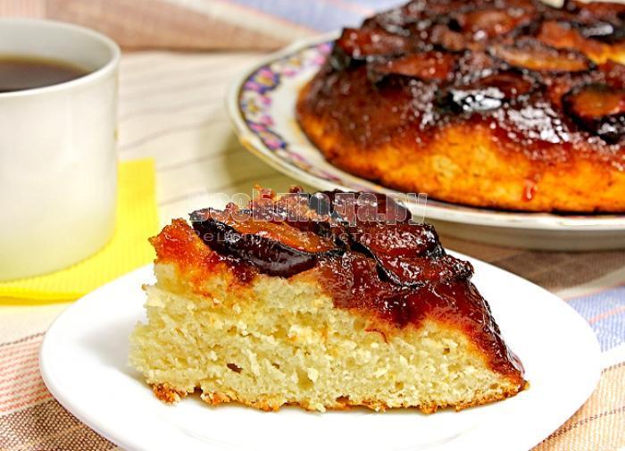 рецепт перевернутого пирога со сливами
