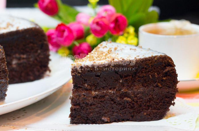 рецепт шоколадного бисквита на кипятке с фото