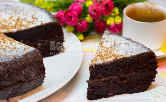 рецепт шоколадного бисквита на кипятке в мультиварке