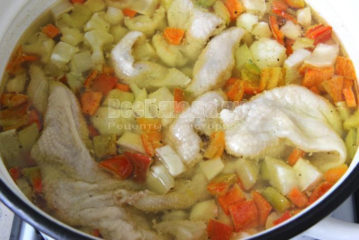 суп с куриными шкурками сварился