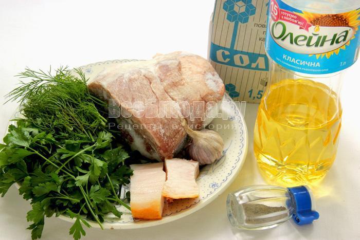 продукты для свиных пальчиков с салом