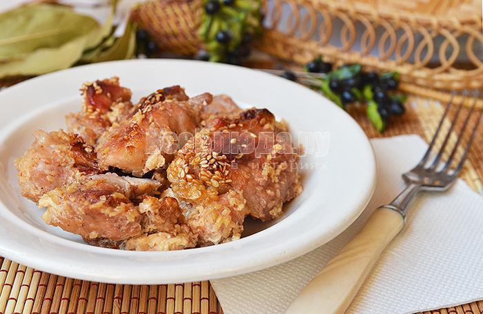 свинина в меду, сливках и кунжуте