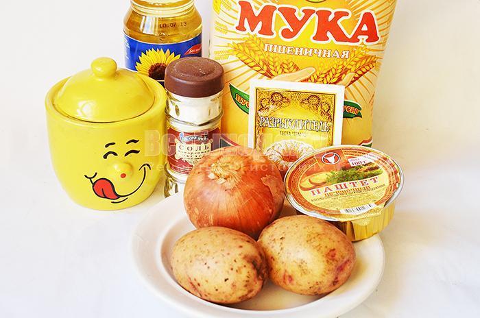 необходимые ингредиенты для приготовления пирожков бомбочек с картошкой: