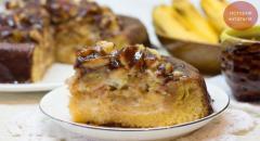 Королевский бисквитный торт с бананами