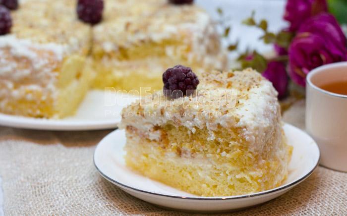 бисквитный торт с творогом, рецепт с фото
