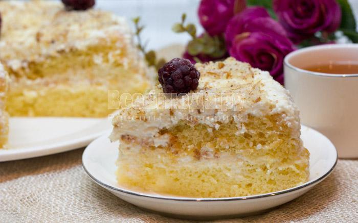 рецепт бисквитного торта с творожным кремом