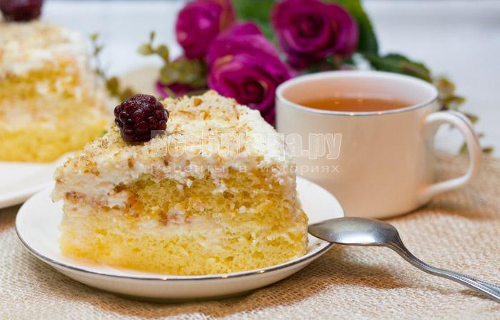 торт с творогом и сметанным кремом