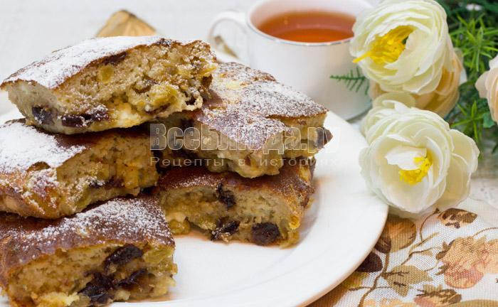 рецепт пирога с творогом и черносливом
