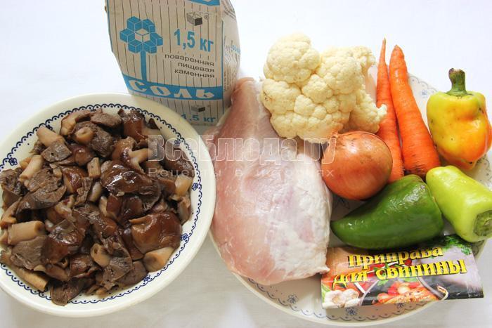 продукты для тушеной свининый с овощами и грибами