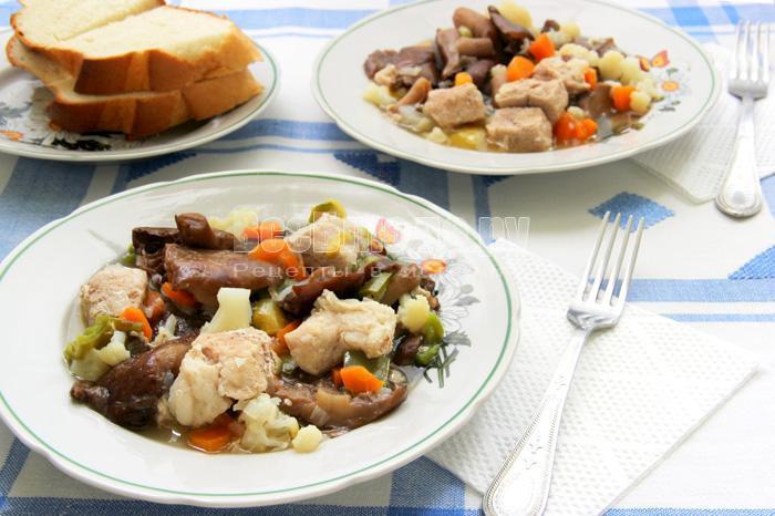 как вкусно потушить свинину с овощами и грибами