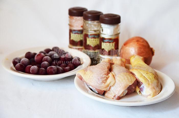 необходимые ингредиенты для курицы с вишней: