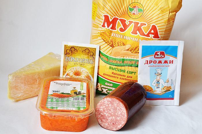необходимые ингредиенты для пиццы с корейской морковью: