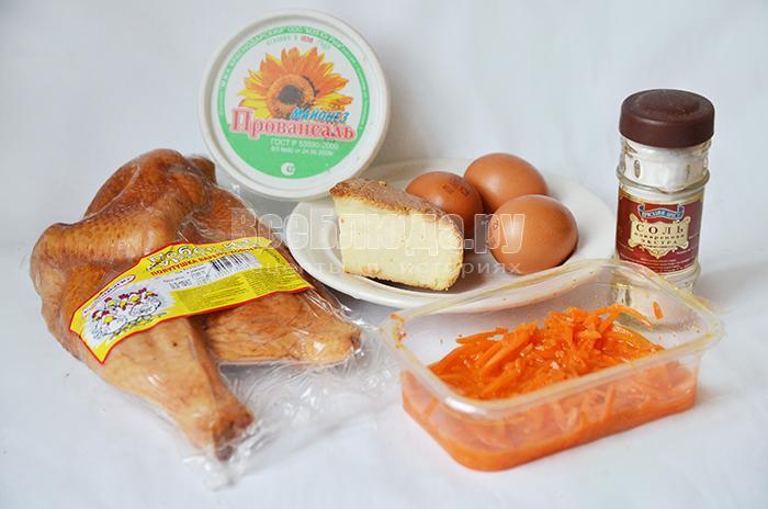 наобходимые ингредиенты для салата с копченым сыром: