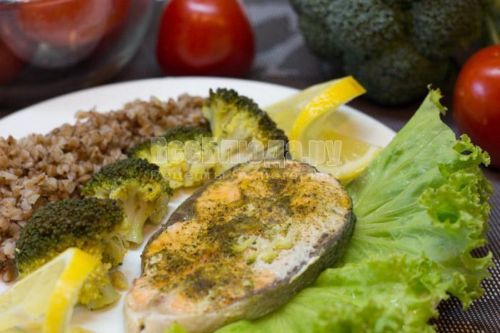 диетическая семга в пароварке с брокколи, рецепт с фото