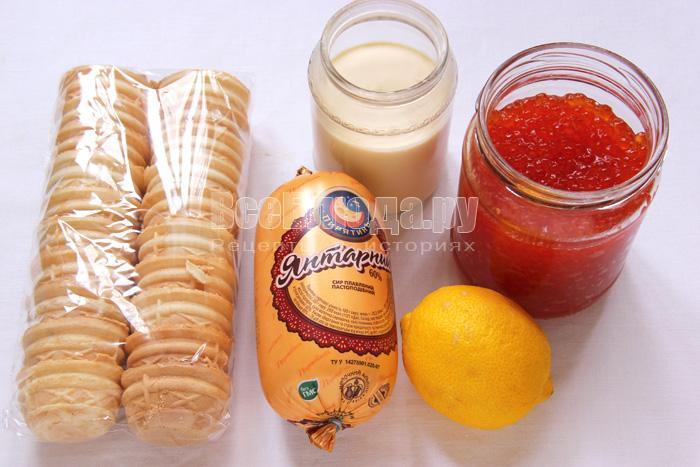 продукты для рецепта закуски с икрой и сыром