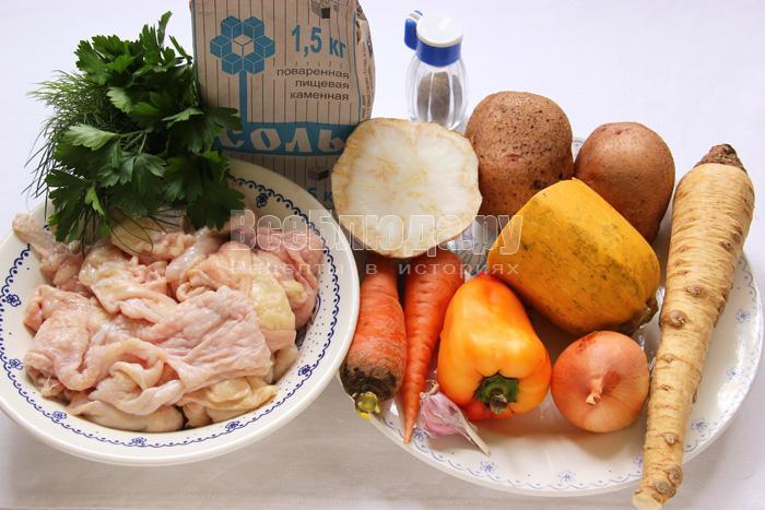 продукты для приготовления овощей в куриных шкурках
