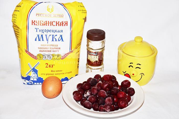 необходимые ингредиенты для вареников с вишней: