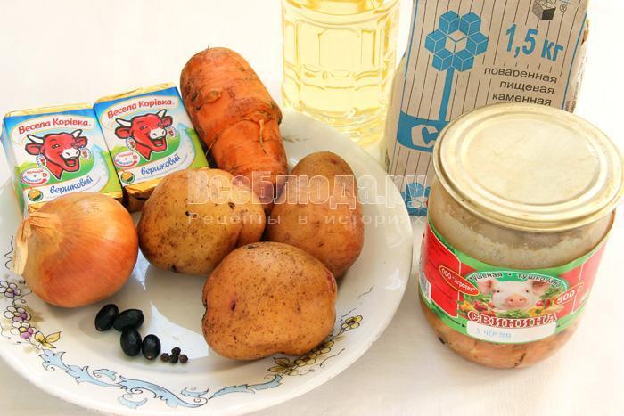 продукты для сырного супа с тушенкой