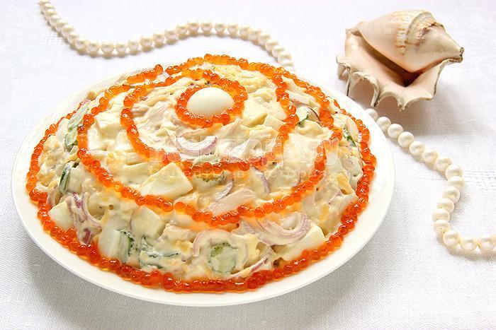 очень вкусный салат морская жемчужина с икрой