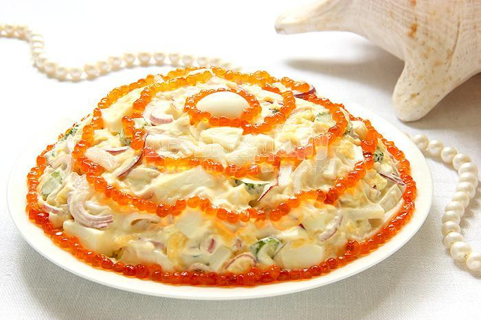 рецепт салата жемчужина с красной икрой