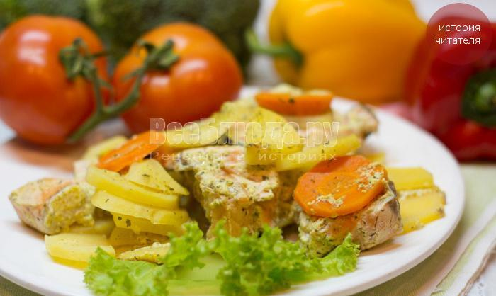 рецепт семги с картошкой в сметане
