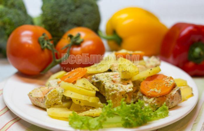 рецепт семги в сметанном соусе